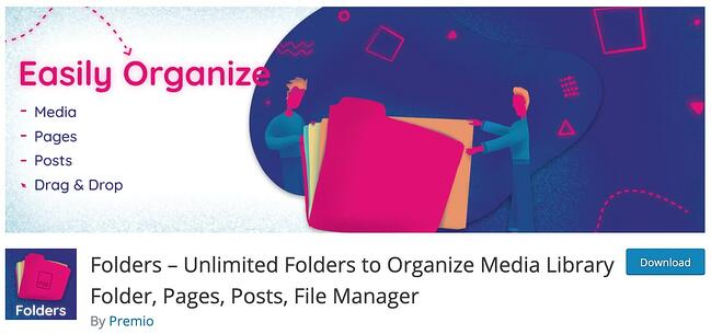 download page for the wordpress media management plugin folders