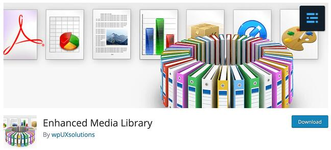 download page for the wordpress media management plugin enhanced media library