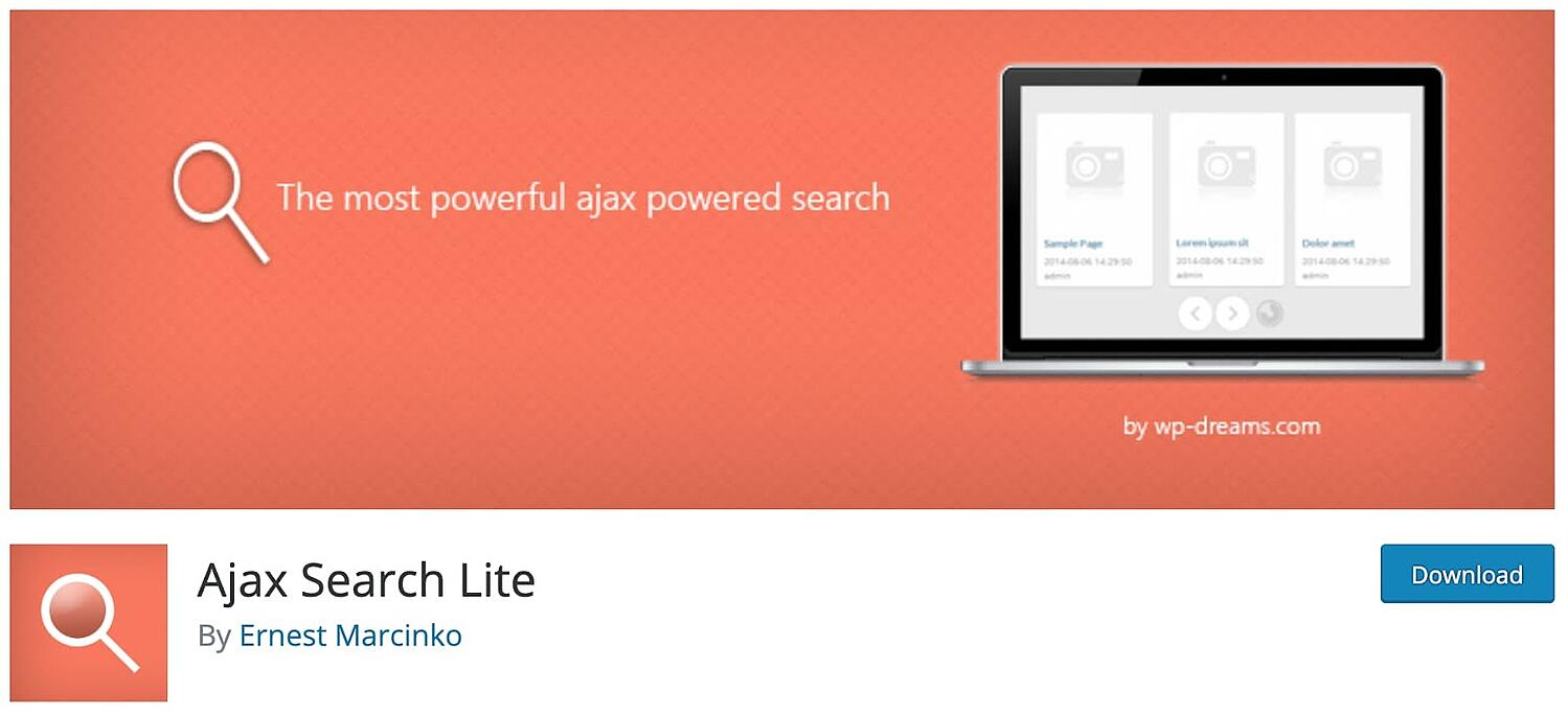 web page for the WordPress search plugin Ajax Search Lite