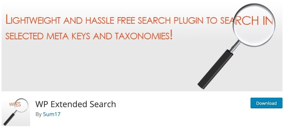 web page for the WordPress search plugin WP Extended Search