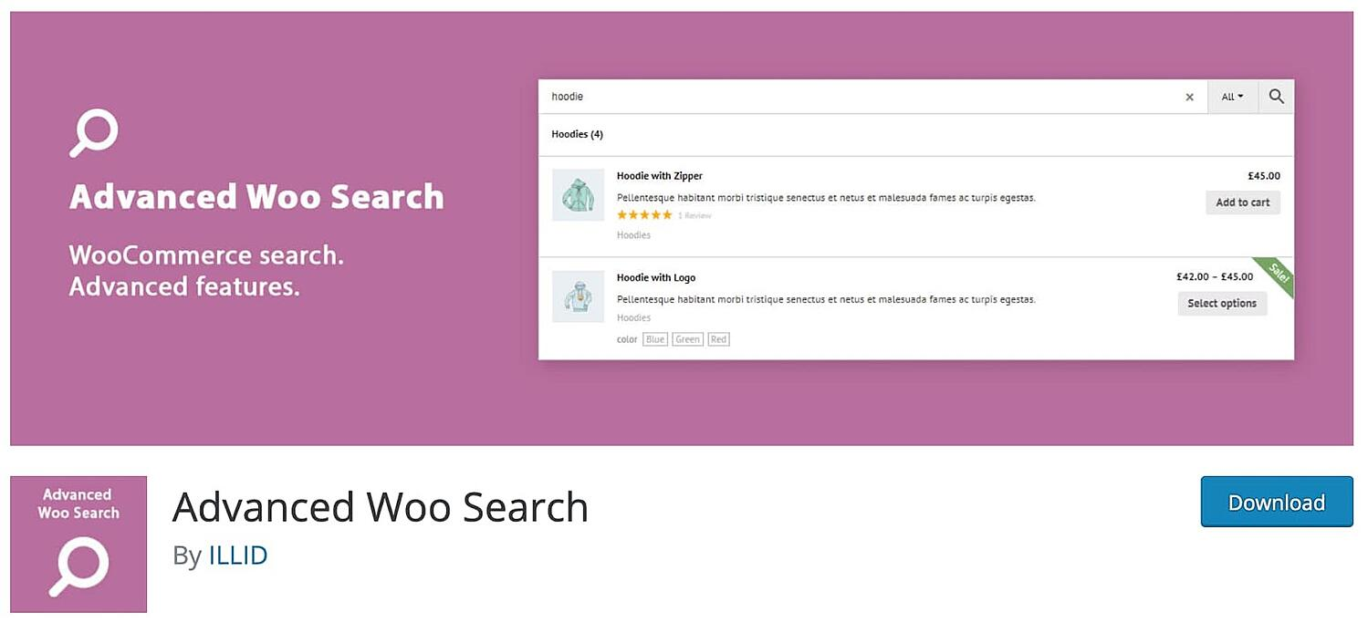 web page for the WordPress search plugin Advanced Woo Search