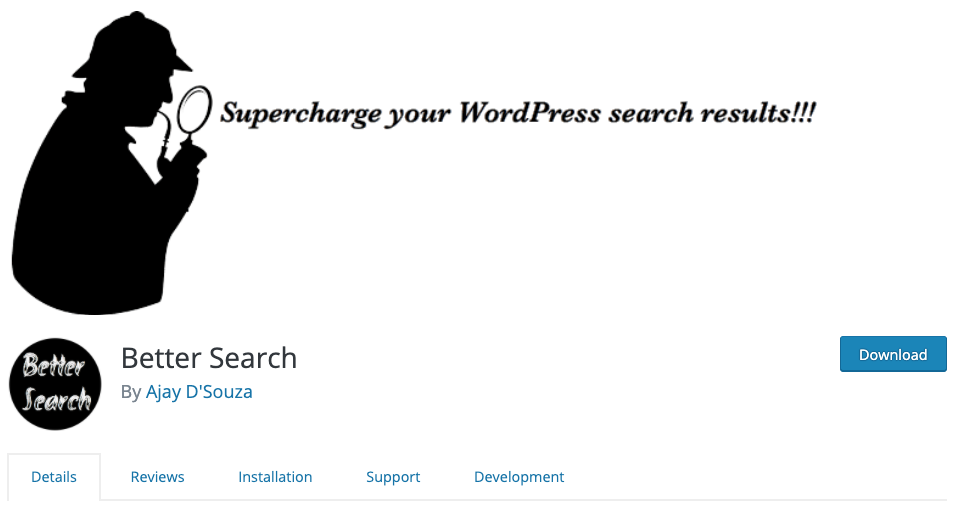web page for the WordPress search plugin Better Search