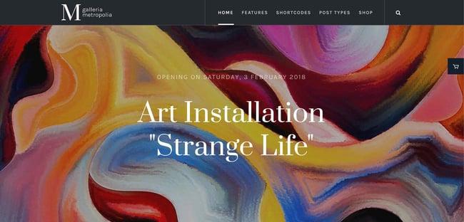 preview for the artist WordPress theme Galleria Metropolia
