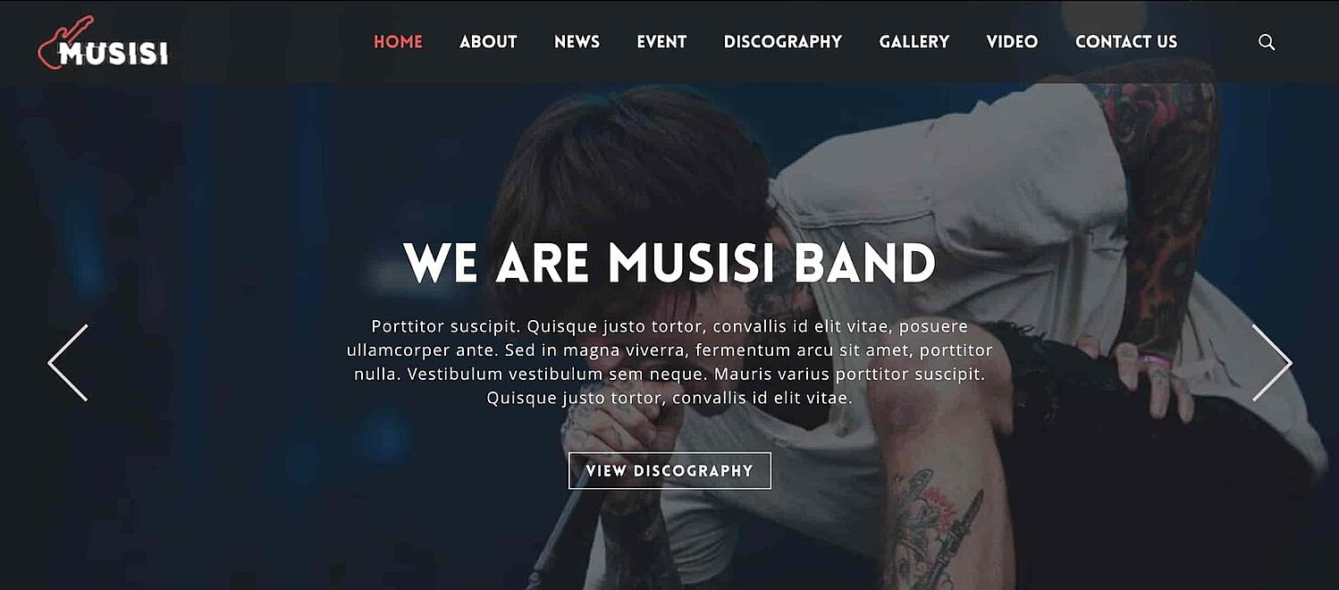preview for the artist WordPress theme Musisi