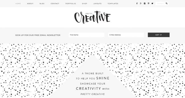 preview for the artist WordPress theme Pretty Creative Pro