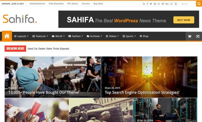 demo page for the amazon affiliate wordpress theme sahifa