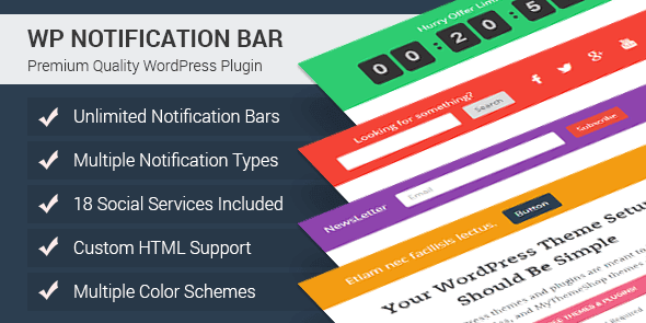 product page for the WordPress call to action plugin WordPress Notification Bar Pro