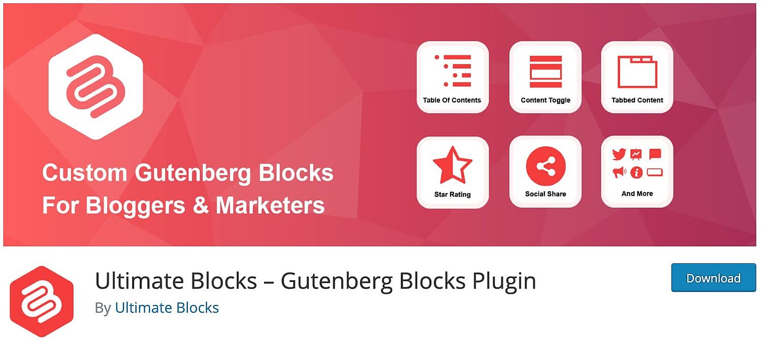 product page for the WordPress call to action plugin Ultimate Blocks