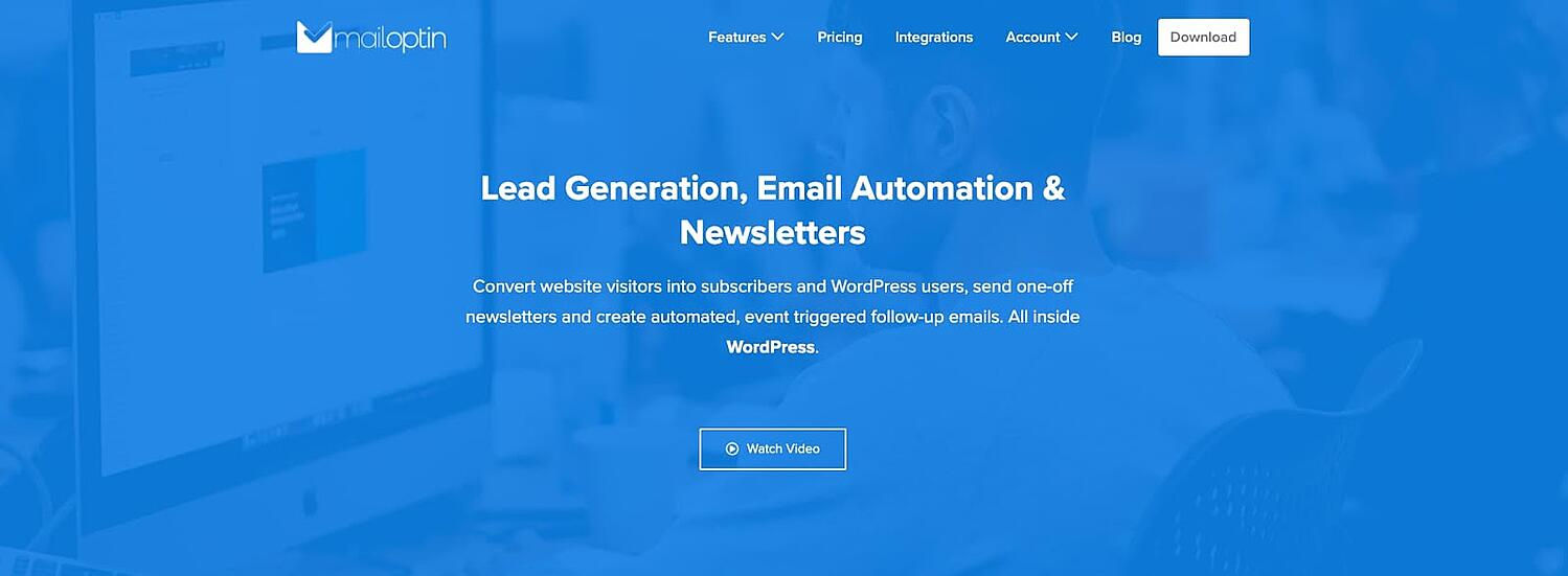 product page for the WordPress call to action plugin MailOptin
