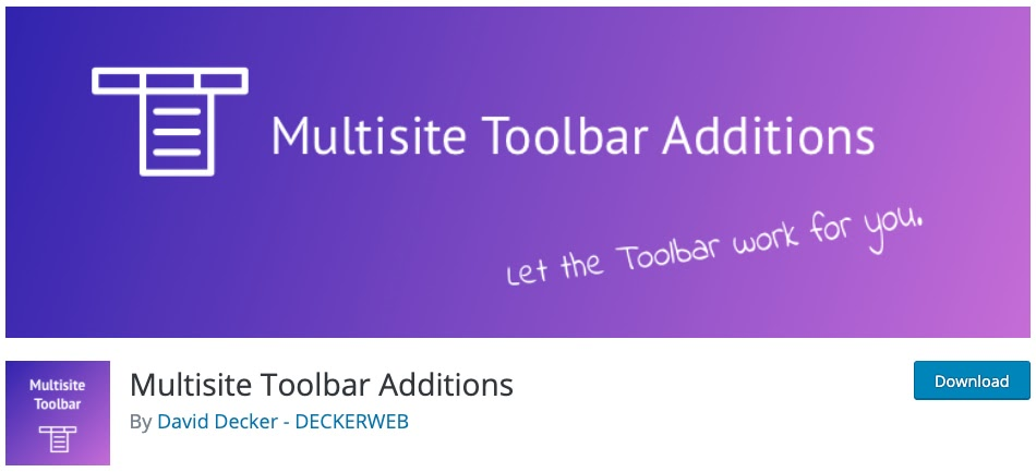 product page for the wordpress multisite plugin Multisite Toolbar Additions