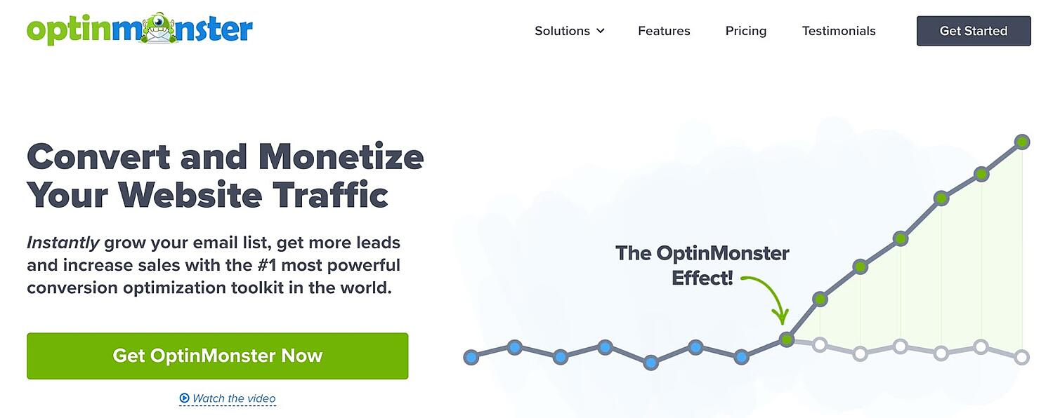 product page for the wordpress multisite plugin Optinmonster