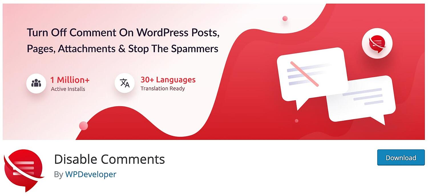 product page for the wordpress multisite plugin Disable Comments