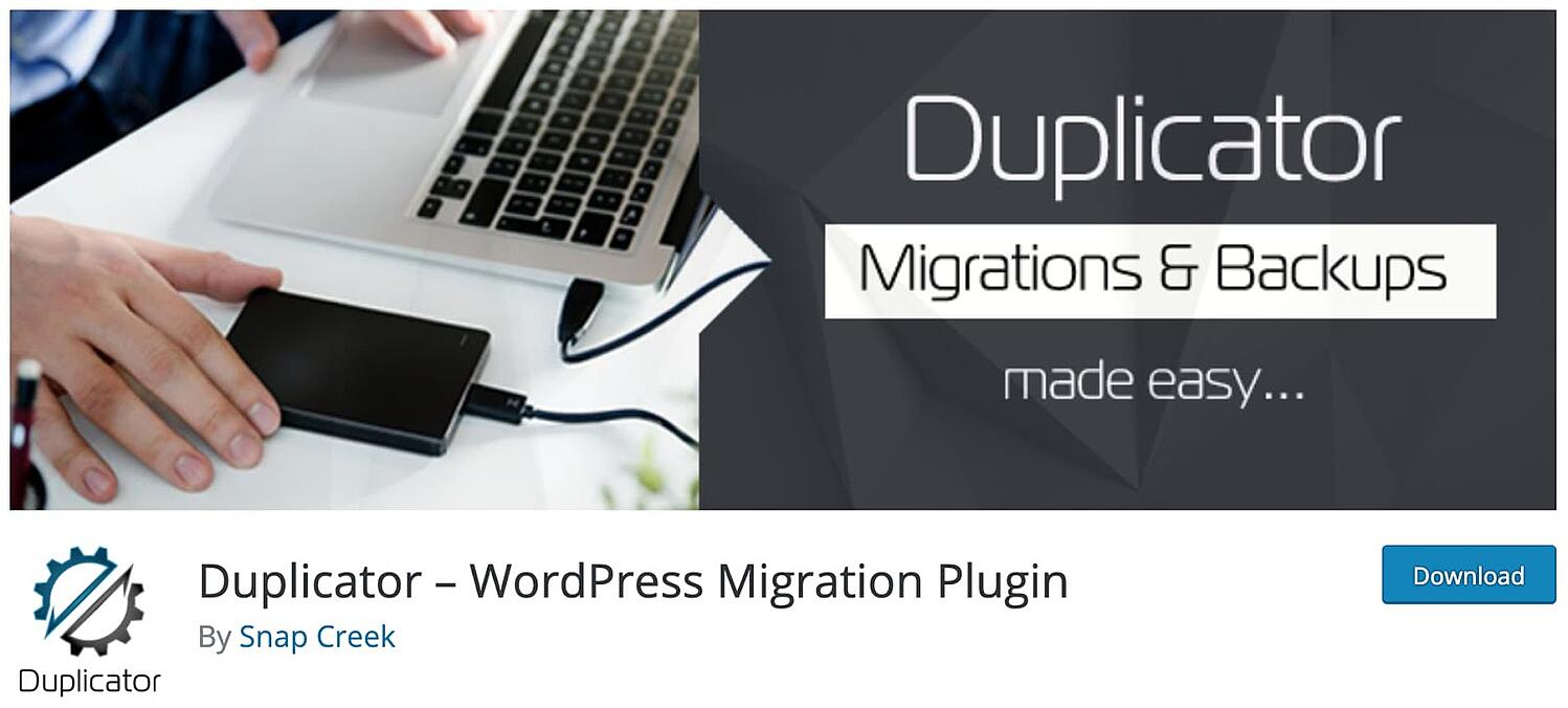 product page for the wordpress multisite plugin Duplicator