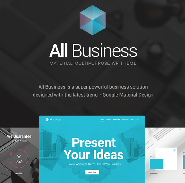 best material design wordpress theme: all business