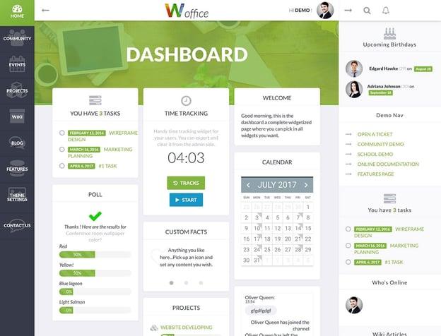 best material design wordpress theme: woffice