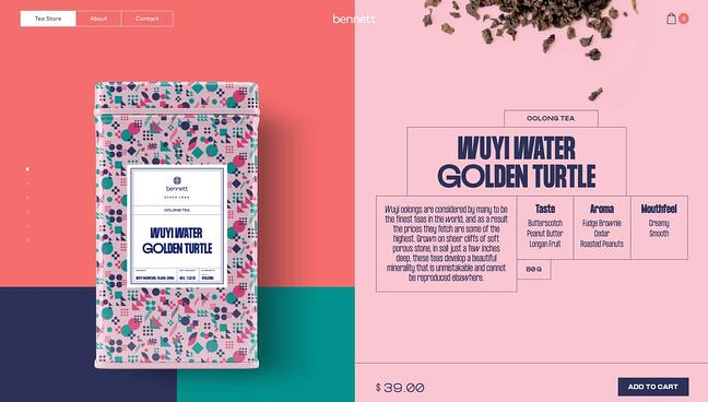 homepage for the small business website design example bennett tea