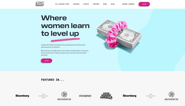 homepage for the small business website design example ladies get paid
