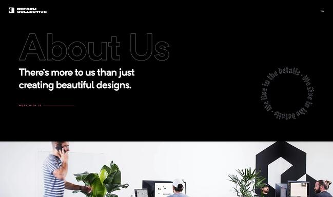 homepage for the small business website design example reform collective