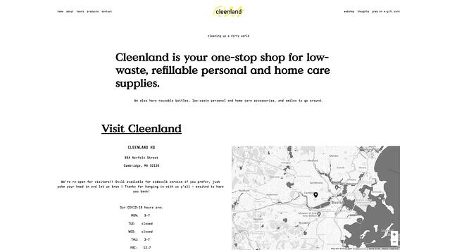 homepage for the small business website design example cleenland