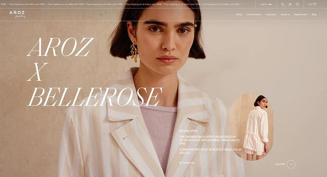 homepage for the small business website design example aroz jewelry
