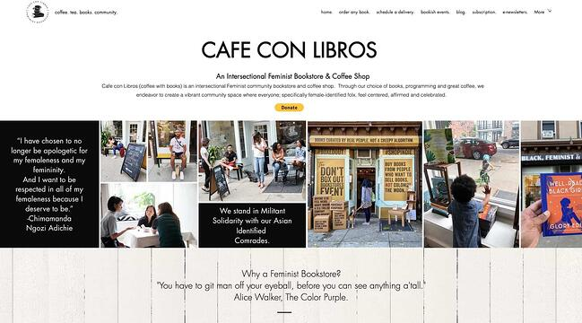 homepage for the small business website design example cafe con libros
