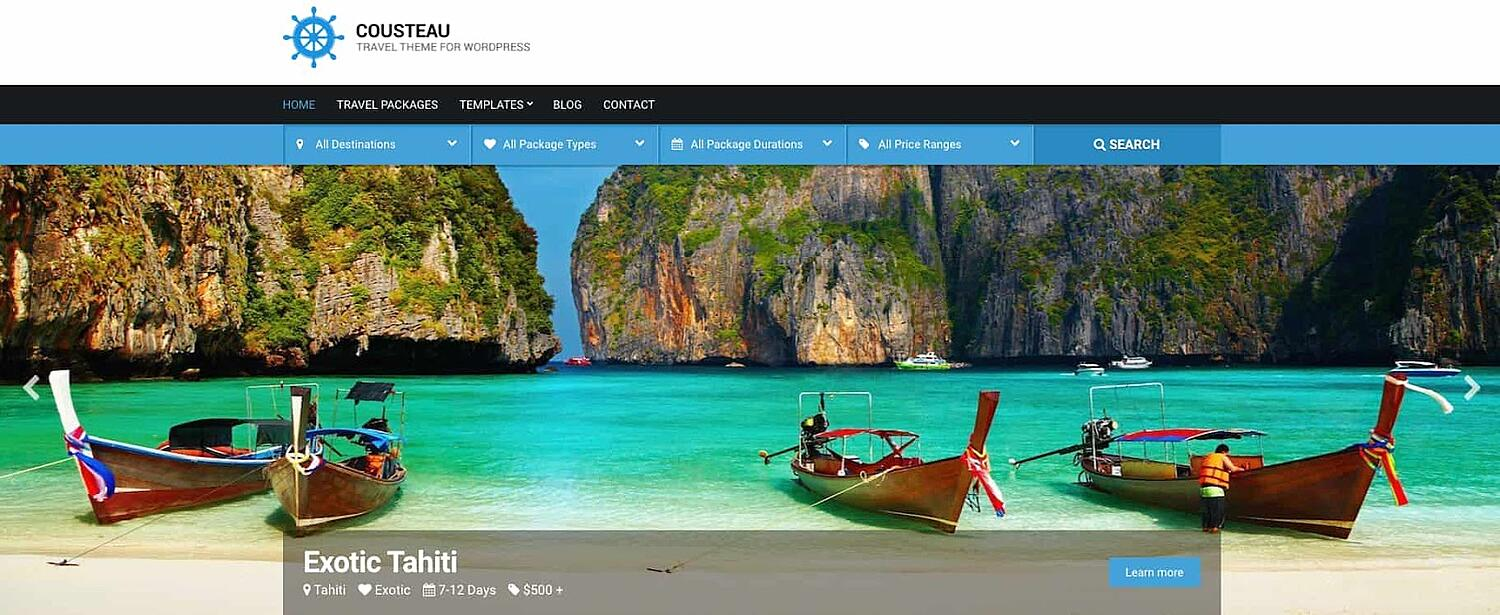 product page for the corporate WordPress theme Cousteau