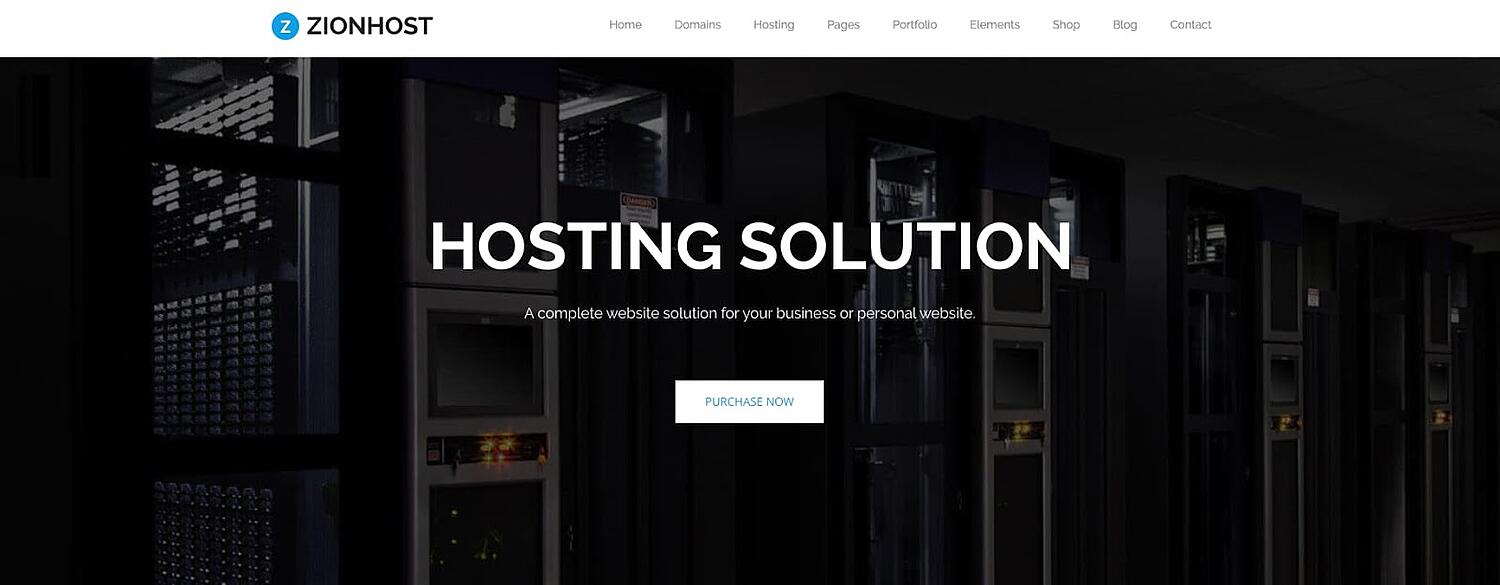 product page for the corporate WordPress theme ZionHost