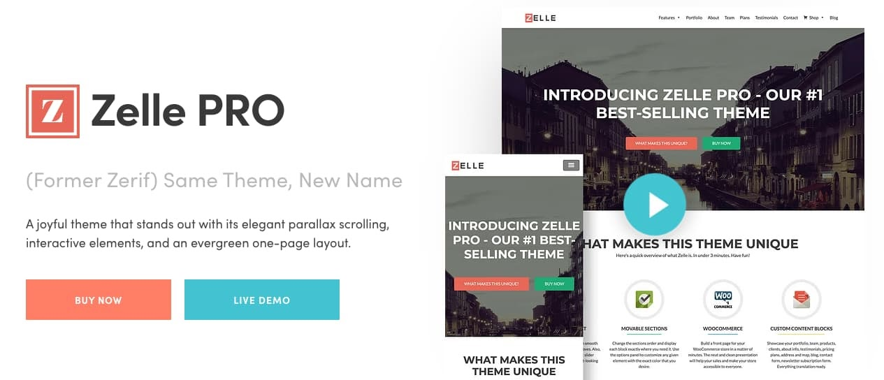 product page for the corporate WordPress theme Zelle PRO