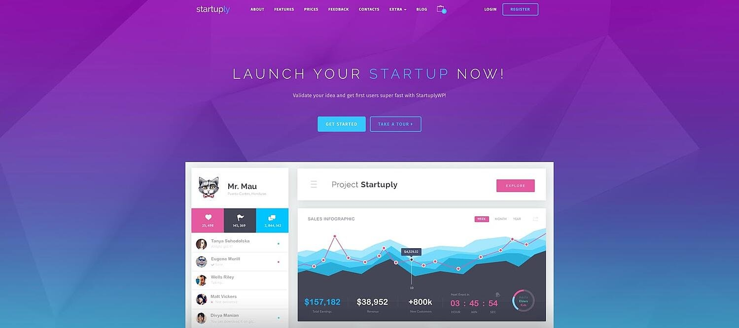 product page for the corporate WordPress theme Startuply