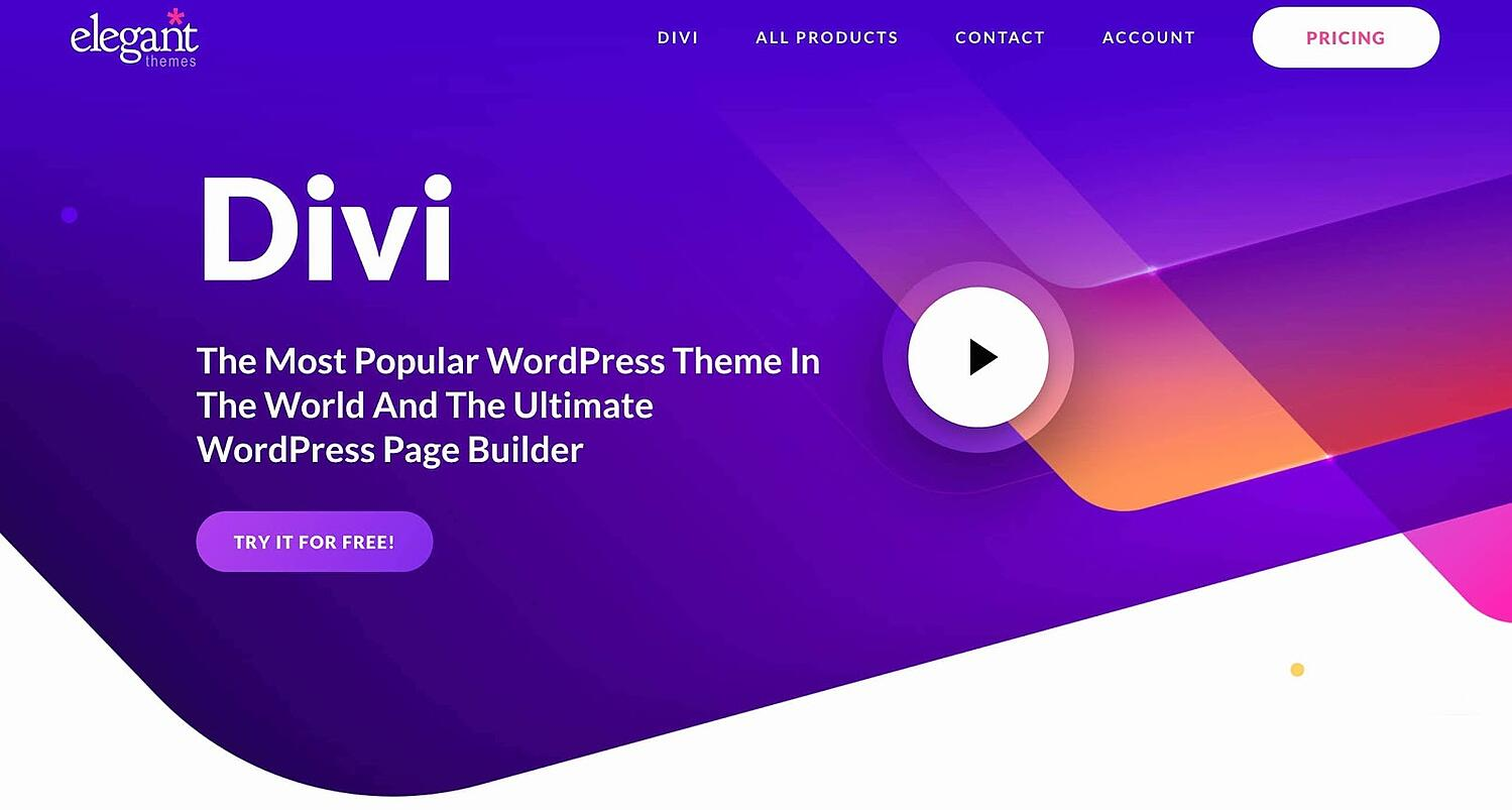 product page for the corporate WordPress theme Divi