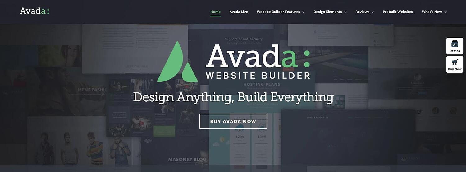 product page for the corporate WordPress theme Avada
