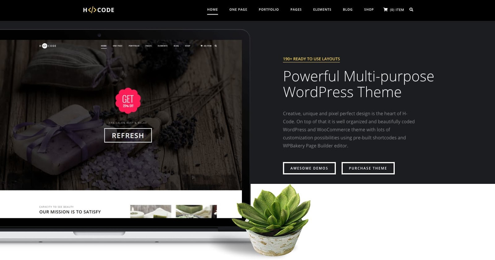 product page for the corporate WordPress theme H Code