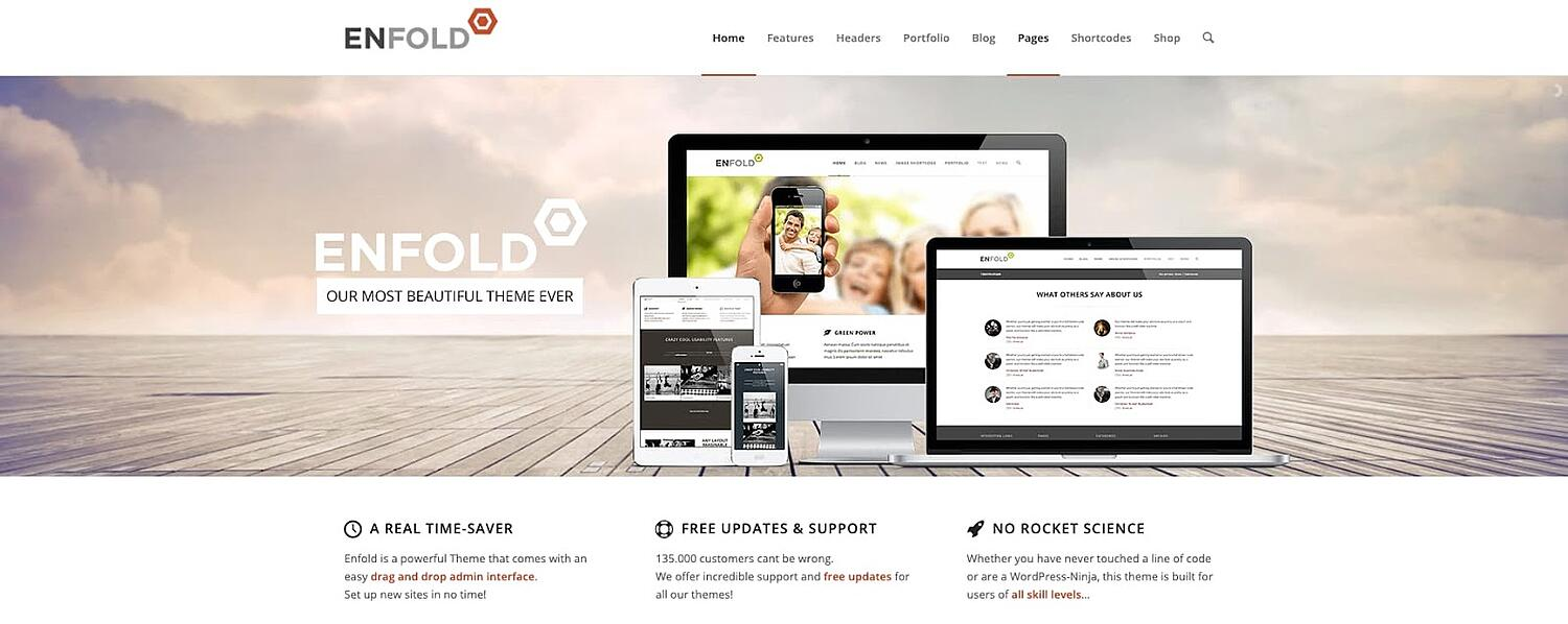 product page for the corporate WordPress theme Enfold