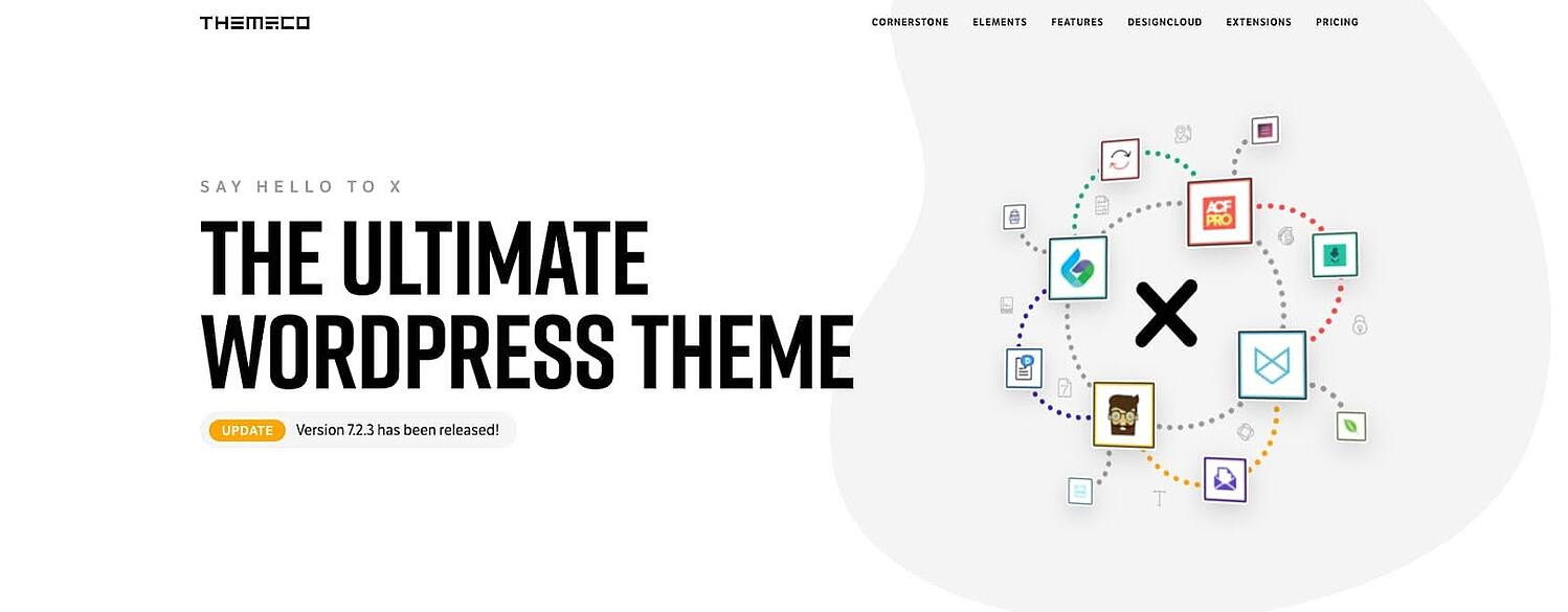 product page for the corporate WordPress theme X theme