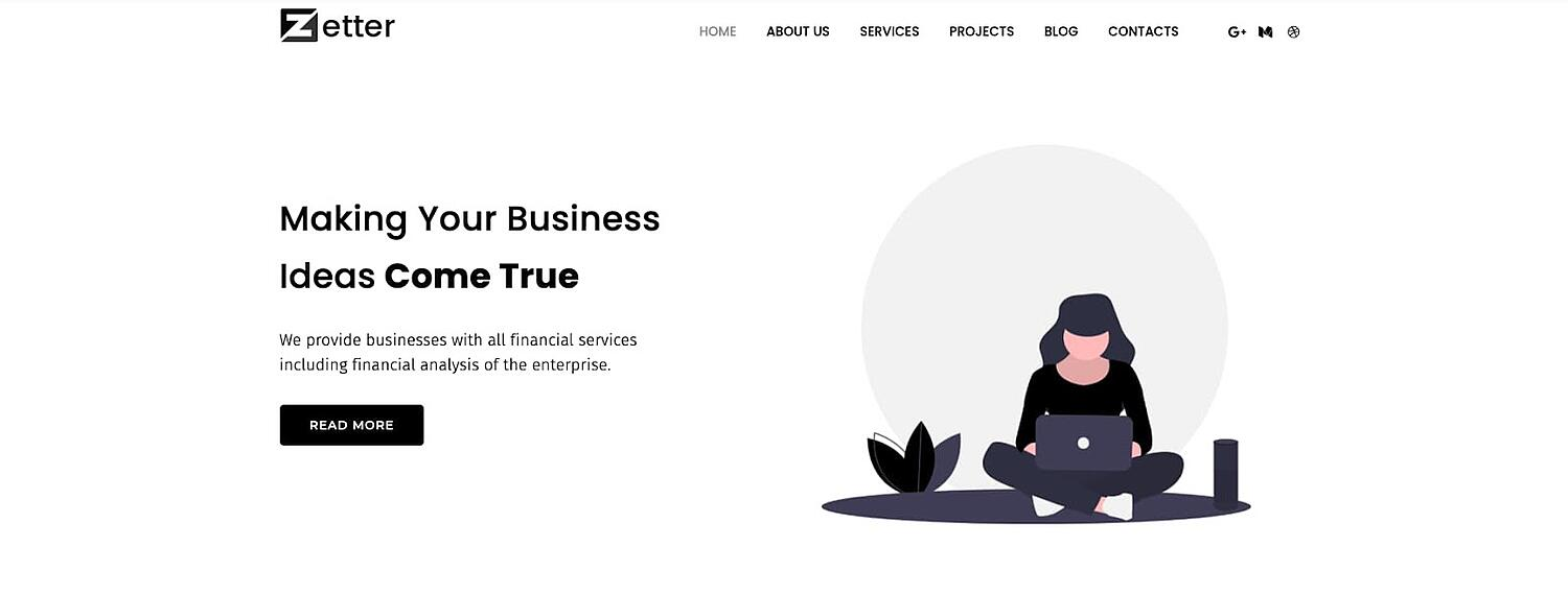product page for the corporate WordPress theme Monstroid