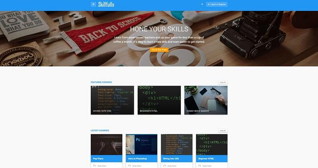 demo page for the wordpress theme for online courses skillfully
