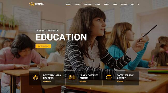 demo page for the wordpress theme for online courses eduma