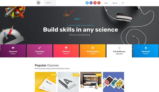 demo page for the wordpress theme for online courses skilled