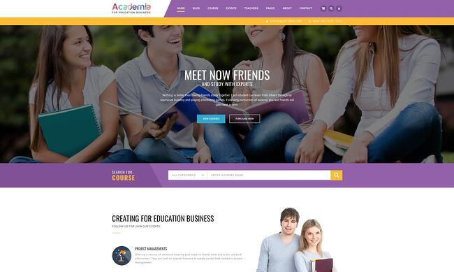 demo page for the wordpress theme for online courses academia