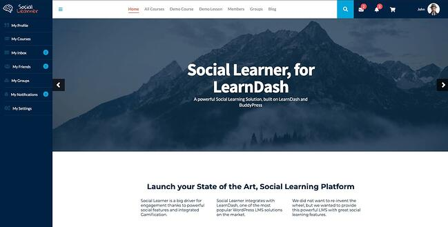 demo page for the wordpress theme for online courses social learner
