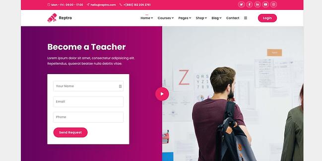 demo page for the wordpress theme for online courses reptro