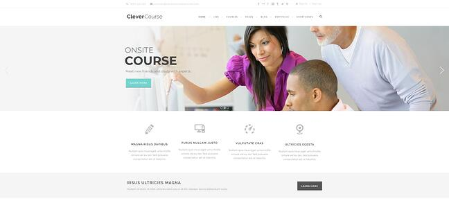 demo page for the wordpress theme for online courses clever course