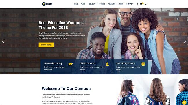 demo page for the wordpress theme for online courses eikra