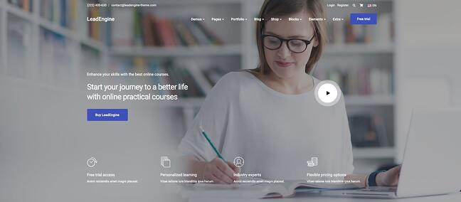 demo page for the wordpress theme for online courses leadengine