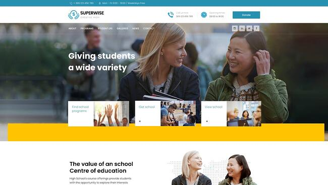 demo page for the wordpress theme for online courses superwise