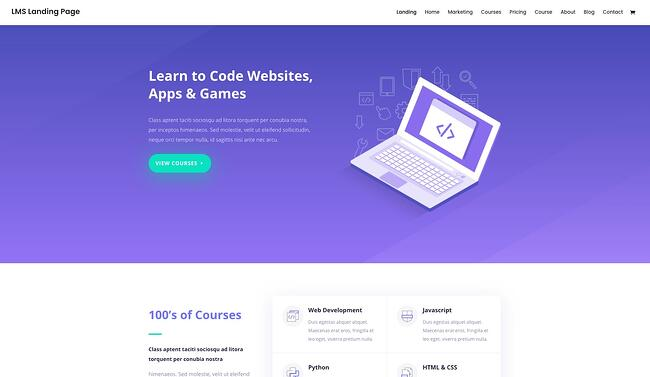 demo page for the wordpress theme for online courses divi