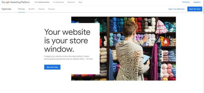 UX tool: Google Optimize
