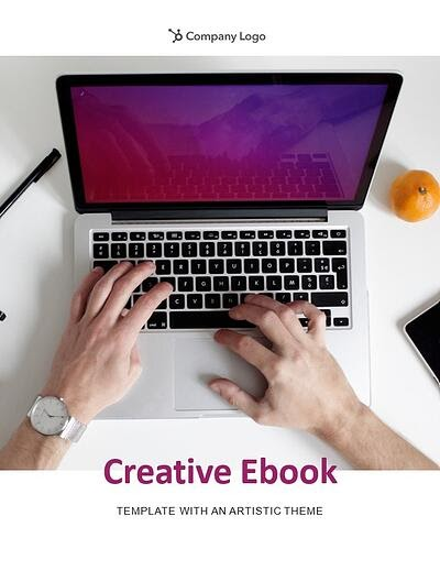 "example page from the artistic theme that reads ""creative ebook template with an artistic theme"" in purple along with a dynamic photo of a laptop with purple screen"