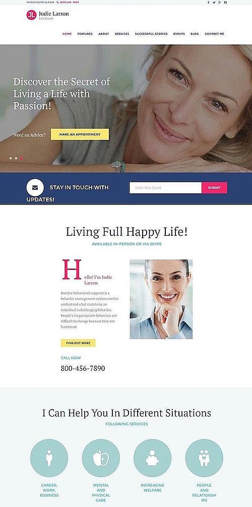 Life Coach is one of the best consulting WordPress themes