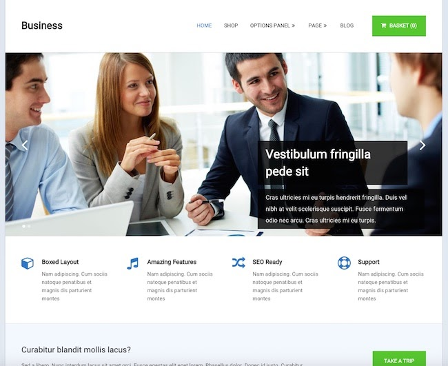 Business Theme for WordPress with two men and woman around a table discussing a website redesign
